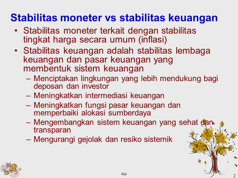 ika 2 Stabilitas moneter vs stabilitas keuangan Stabilitas moneter terkait dengan stabilitas tingkat harga secara umum (inflasi) Stabilitas keuangan a