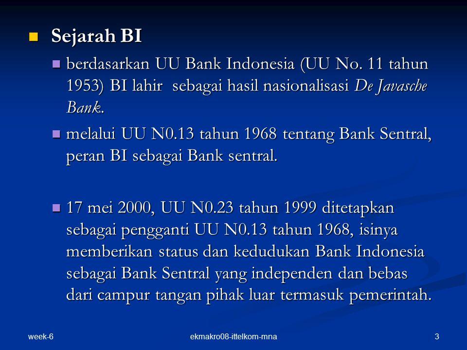 week-6 3ekmakro08-ittelkom-mna Sejarah BI Sejarah BI berdasarkan UU Bank Indonesia (UU No.