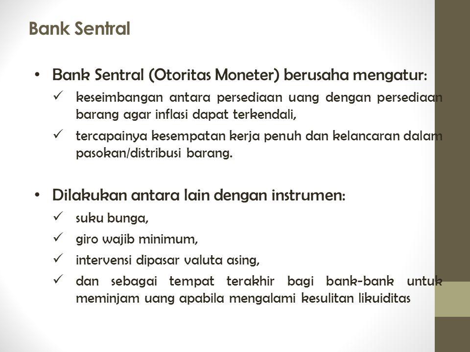 Bank Sentral Bank Sentral (Otoritas Moneter) berusaha mengatur: keseimbangan antara persediaan uang dengan persediaan barang agar inflasi dapat terken