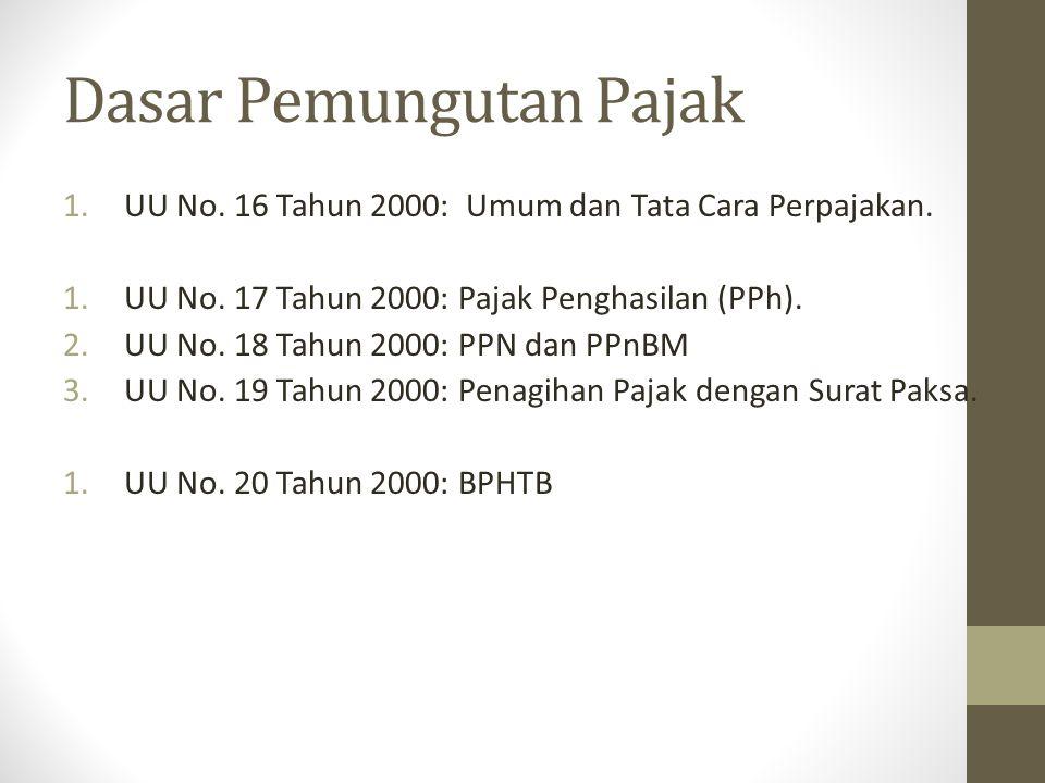 1.UU No. 16 Tahun 2000: Umum dan Tata Cara Perpajakan. 1.UU No. 17 Tahun 2000: Pajak Penghasilan (PPh). 2.UU No. 18 Tahun 2000: PPN dan PPnBM 3.UU No.
