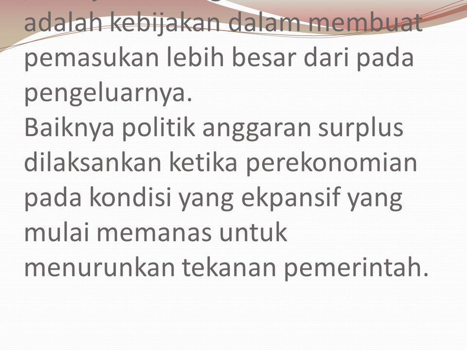 Anggaran Surplus (Surplus Budget) / Kebijakan Budget Kontraktif adalah kebijakan dalam membuat pemasukan lebih besar dari pada pengeluarnya. Baiknya p