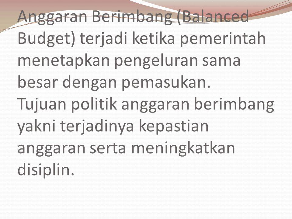 Anggaran Berimbang (Balanced Budget) terjadi ketika pemerintah menetapkan pengeluran sama besar dengan pemasukan. Tujuan politik anggaran berimbang ya