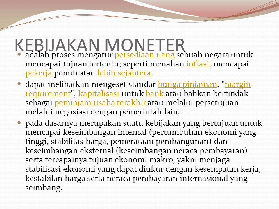 KEBIJAKAN MONETER adalah proses mengatur persediaan uang sebuah negara untuk mencapai tujuan tertentu; seperti menahan inflasi, mencapai pekerja penuh