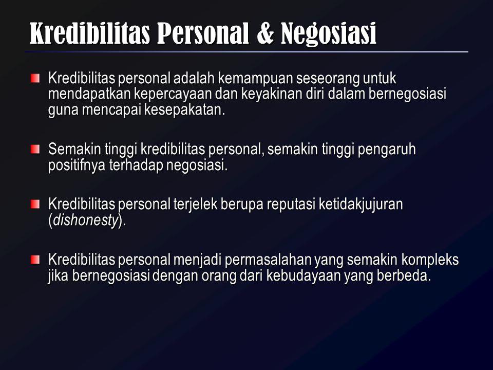 Kredibilitas Personal & Negosiasi Kredibilitas personal adalah kemampuan seseorang untuk mendapatkan kepercayaan dan keyakinan diri dalam bernegosiasi