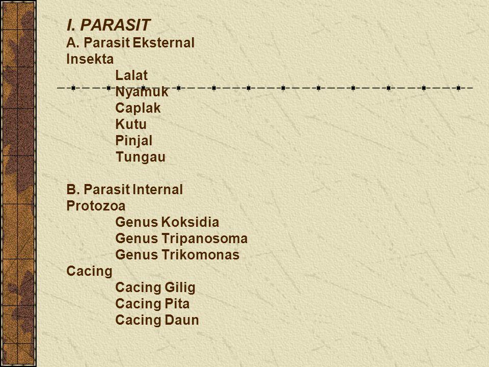 I. PARASIT A. Parasit Eksternal Insekta Lalat Nyamuk Caplak Kutu Pinjal Tungau B. Parasit Internal Protozoa Genus Koksidia Genus Tripanosoma Genus Tri