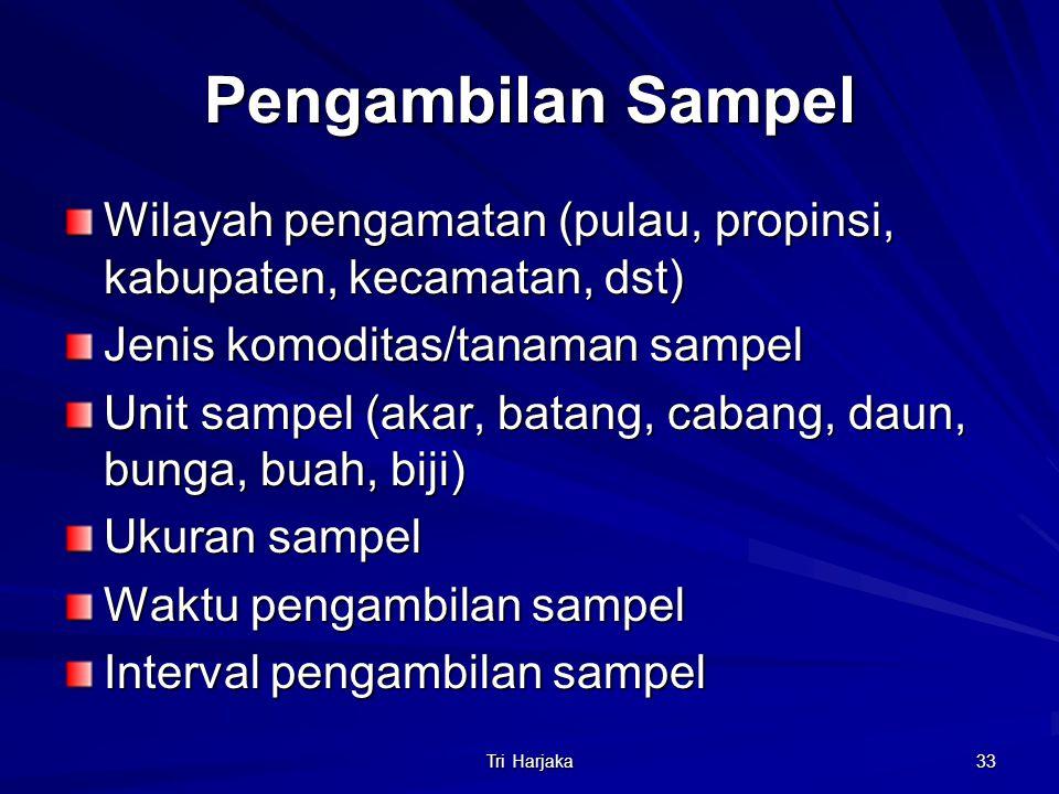 Tri Harjaka 33 Pengambilan Sampel Wilayah pengamatan (pulau, propinsi, kabupaten, kecamatan, dst) Jenis komoditas/tanaman sampel Unit sampel (akar, ba