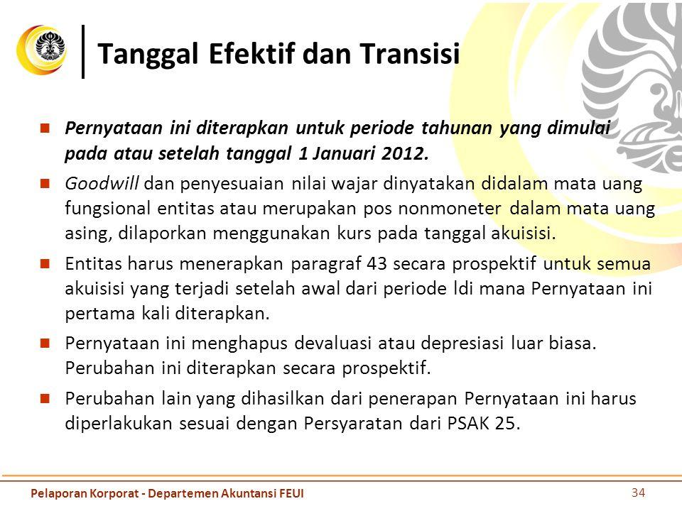 Tanggal Efektif dan Transisi Pernyataan ini diterapkan untuk periode tahunan yang dimulai pada atau setelah tanggal 1 Januari 2012. Goodwill dan penye