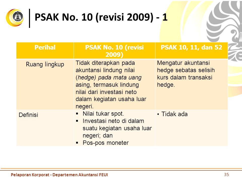 PSAK No. 10 (revisi 2009) - 1 PerihalPSAK No. 10 (revisi 2009) PSAK 10, 11, dan 52 Ruang lingkup Tidak diterapkan pada akuntansi lindung nilai (hedge)