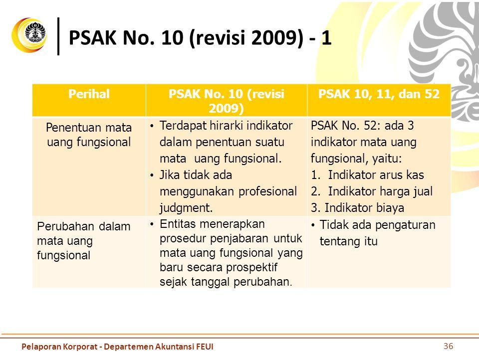 PSAK No. 10 (revisi 2009) - 1 PerihalPSAK No. 10 (revisi 2009) PSAK 10, 11, dan 52 Penentuan mata uang fungsional Terdapat hirarki indikator dalam pen