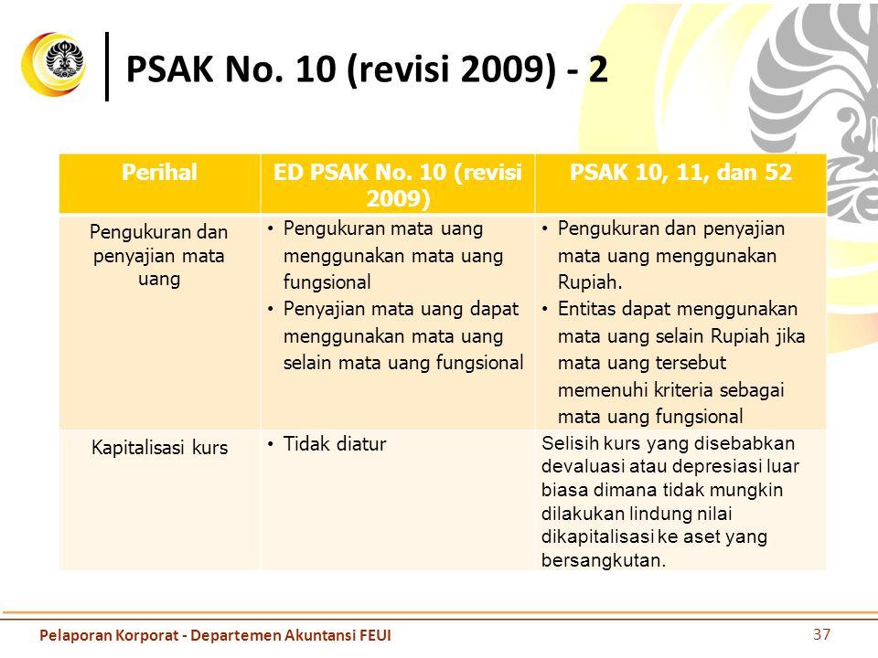 PSAK No. 10 (revisi 2009) - 2 PerihalED PSAK No. 10 (revisi 2009) PSAK 10, 11, dan 52 Pengukuran dan penyajian mata uang Pengukuran mata uang mengguna