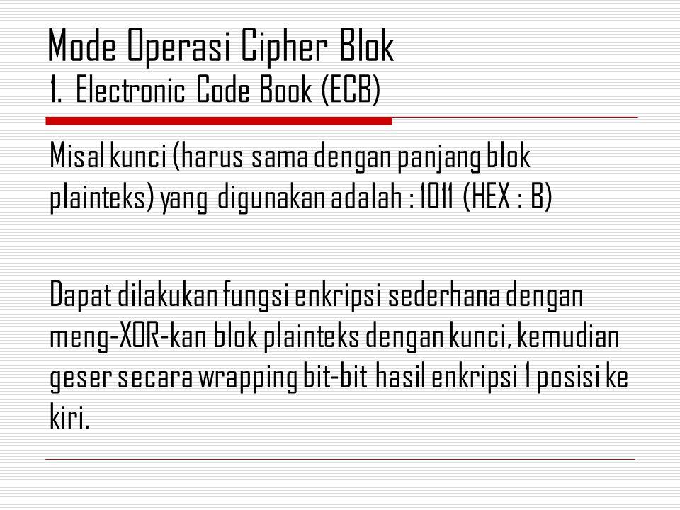Misal kunci (harus sama dengan panjang blok plainteks) yang digunakan adalah : 1011 (HEX : B) Dapat dilakukan fungsi enkripsi sederhana dengan meng-XOR-kan blok plainteks dengan kunci, kemudian geser secara wrapping bit-bit hasil enkripsi 1 posisi ke kiri.