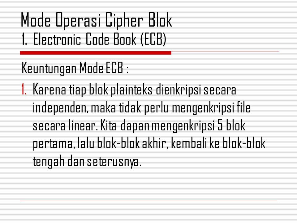 Keuntungan Mode ECB : 1.Karena tiap blok plainteks dienkripsi secara independen, maka tidak perlu mengenkripsi file secara linear.