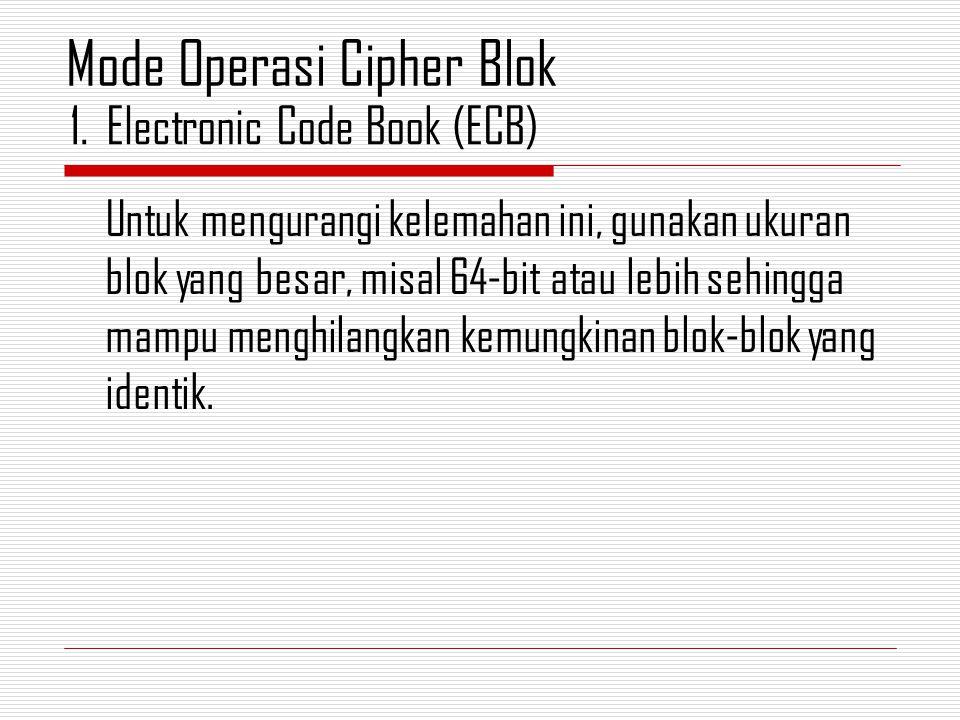 Untuk mengurangi kelemahan ini, gunakan ukuran blok yang besar, misal 64-bit atau lebih sehingga mampu menghilangkan kemungkinan blok-blok yang identik.