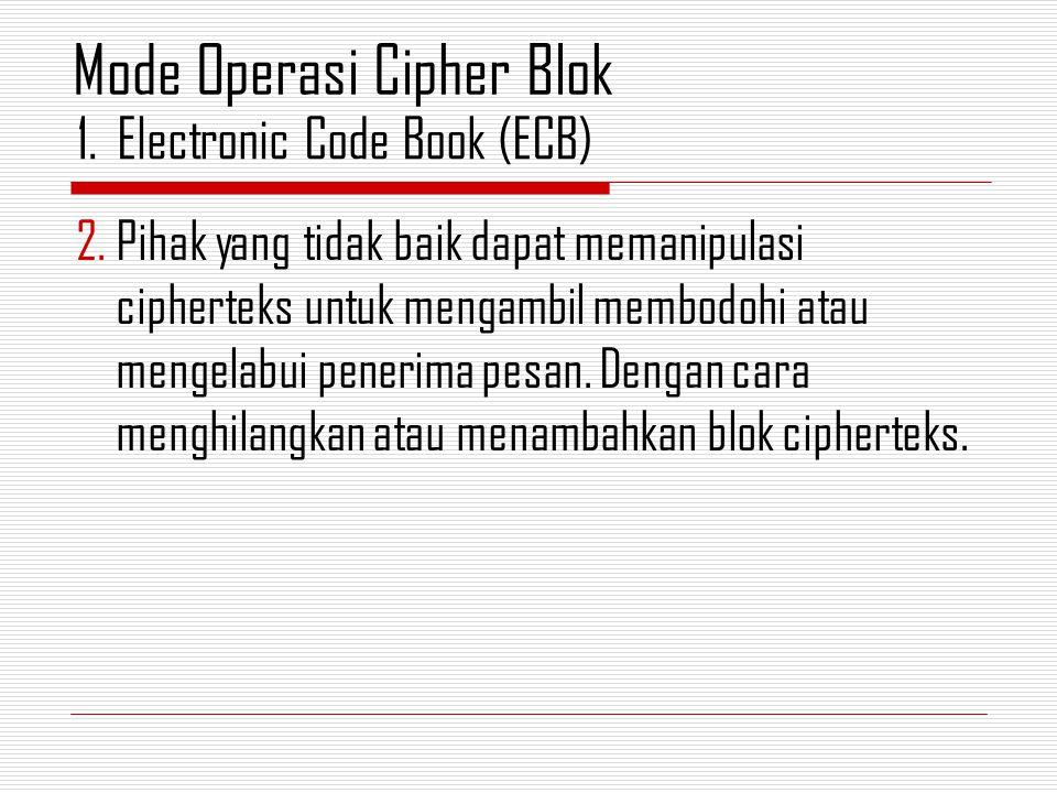 2.Pihak yang tidak baik dapat memanipulasi cipherteks untuk mengambil membodohi atau mengelabui penerima pesan.