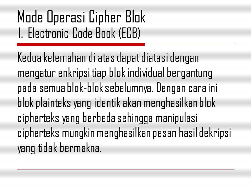 Kedua kelemahan di atas dapat diatasi dengan mengatur enkripsi tiap blok individual bergantung pada semua blok-blok sebelumnya.