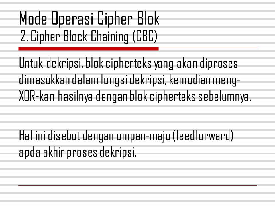 Untuk dekripsi, blok cipherteks yang akan diproses dimasukkan dalam fungsi dekripsi, kemudian meng- XOR-kan hasilnya dengan blok cipherteks sebelumnya.