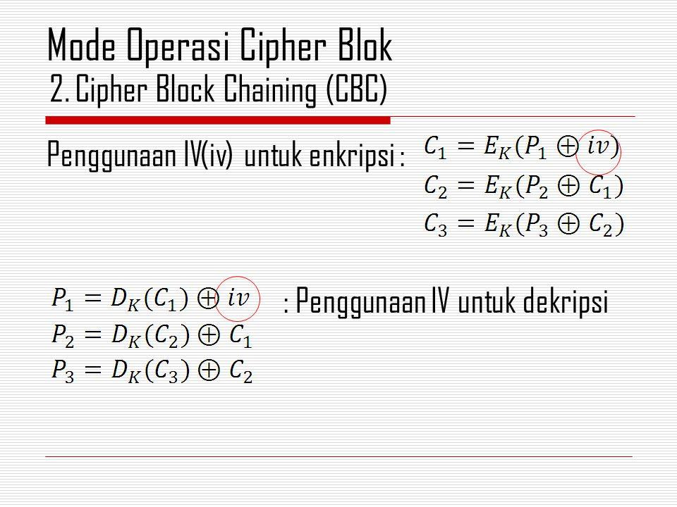 Penggunaan IV(iv) untuk enkripsi : : Penggunaan IV untuk dekripsi 2.Cipher Block Chaining (CBC) Mode Operasi Cipher Blok