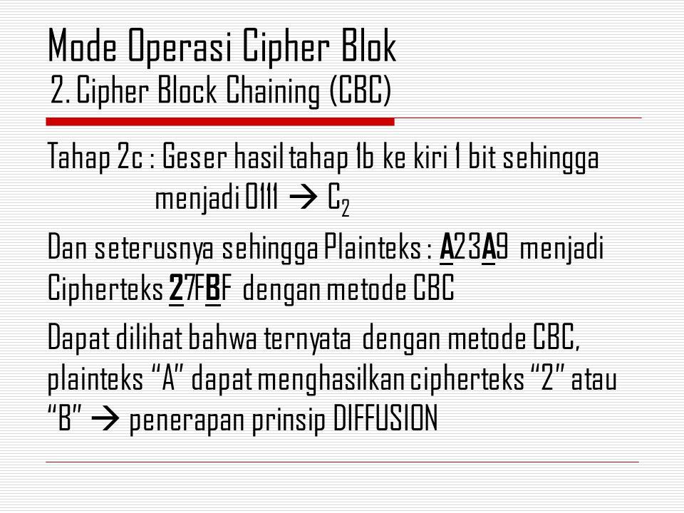 Tahap 2c : Geser hasil tahap 1b ke kiri 1 bit sehingga menjadi 0111  C 2 Dan seterusnya sehingga Plainteks : A 23 A 9 menjadi Cipherteks 2 7F B F dengan metode CBC Dapat dilihat bahwa ternyata dengan metode CBC, plainteks A dapat menghasilkan cipherteks 2 atau B  penerapan prinsip DIFFUSION 2.Cipher Block Chaining (CBC) Mode Operasi Cipher Blok