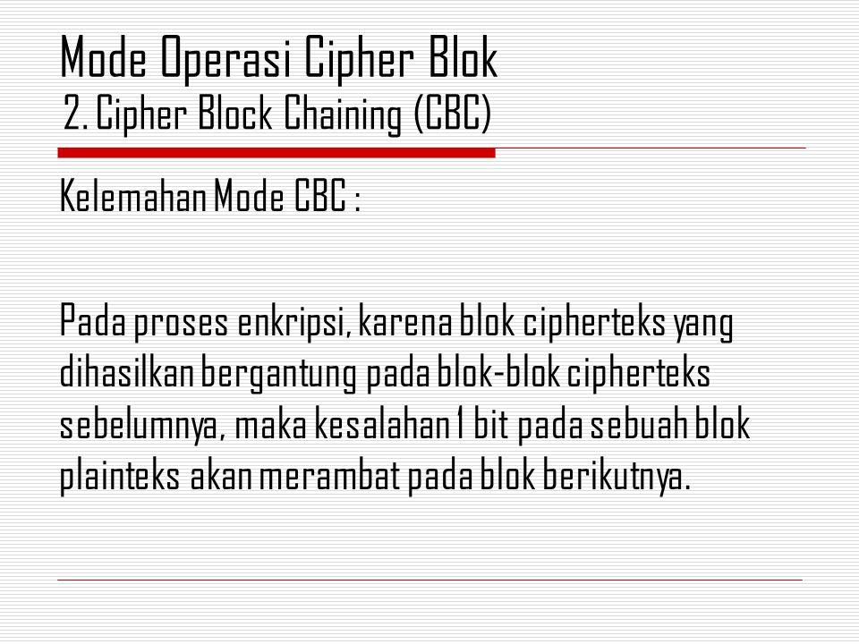 Kelemahan Mode CBC : Pada proses enkripsi, karena blok cipherteks yang dihasilkan bergantung pada blok-blok cipherteks sebelumnya, maka kesalahan 1 bit pada sebuah blok plainteks akan merambat pada blok berikutnya.