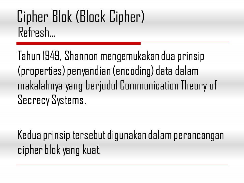 Tahun 1949, Shannon mengemukakan dua prinsip (properties) penyandian (encoding) data dalam makalahnya yang berjudul Communication Theory of Secrecy Systems.