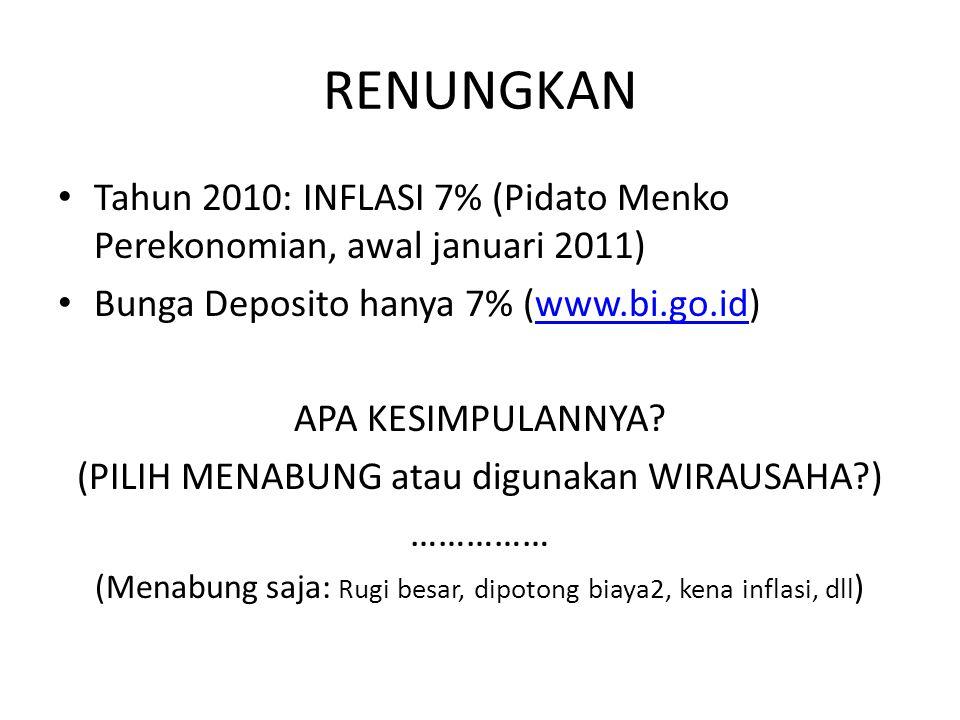 RENUNGKAN Tahun 2010: INFLASI 7% (Pidato Menko Perekonomian, awal januari 2011) Bunga Deposito hanya 7% (www.bi.go.id)www.bi.go.id APA KESIMPULANNYA?