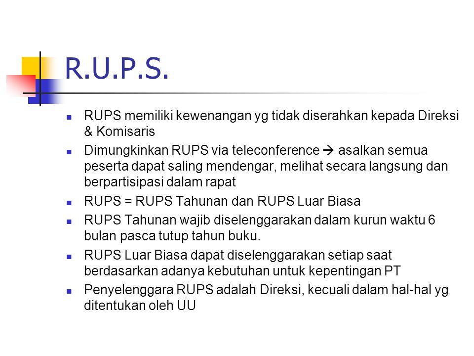 R.U.P.S. RUPS memiliki kewenangan yg tidak diserahkan kepada Direksi & Komisaris Dimungkinkan RUPS via teleconference  asalkan semua peserta dapat sa