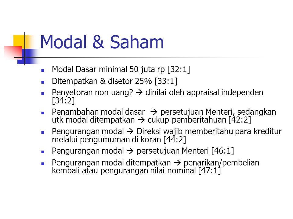 Modal & Saham Modal Dasar minimal 50 juta rp [32:1] Ditempatkan & disetor 25% [33:1] Penyetoran non uang?  dinilai oleh appraisal independen [34:2] P