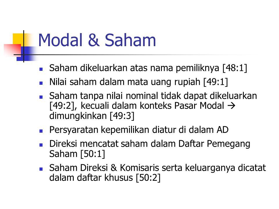 Modal & Saham Saham dikeluarkan atas nama pemiliknya [48:1] Nilai saham dalam mata uang rupiah [49:1] Saham tanpa nilai nominal tidak dapat dikeluarka