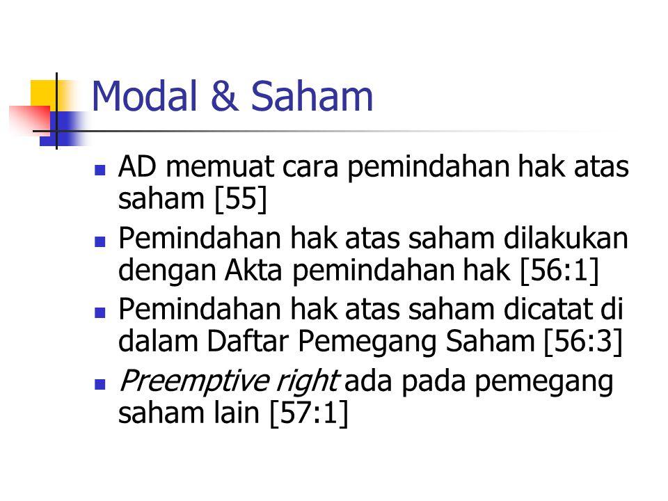 Modal & Saham AD memuat cara pemindahan hak atas saham [55] Pemindahan hak atas saham dilakukan dengan Akta pemindahan hak [56:1] Pemindahan hak atas