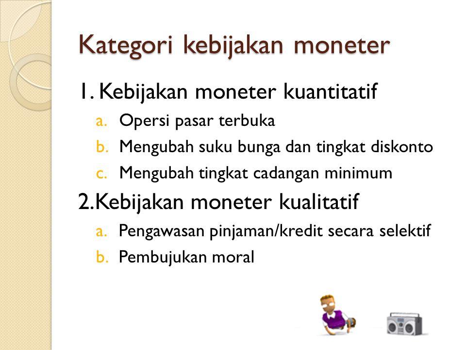 Kategori kebijakan moneter 1. Kebijakan moneter kuantitatif a.Opersi pasar terbuka b.Mengubah suku bunga dan tingkat diskonto c.Mengubah tingkat cadan