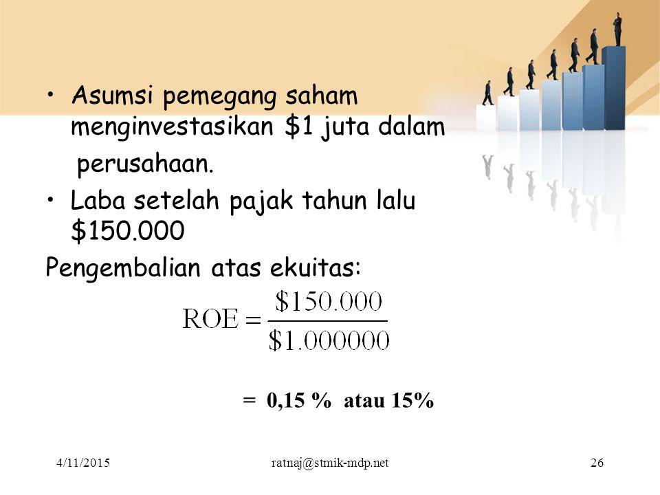 Asumsi pemegang saham menginvestasikan $1 juta dalam perusahaan. Laba setelah pajak tahun lalu $150.000 Pengembalian atas ekuitas: = 0,15 % atau 15% 4