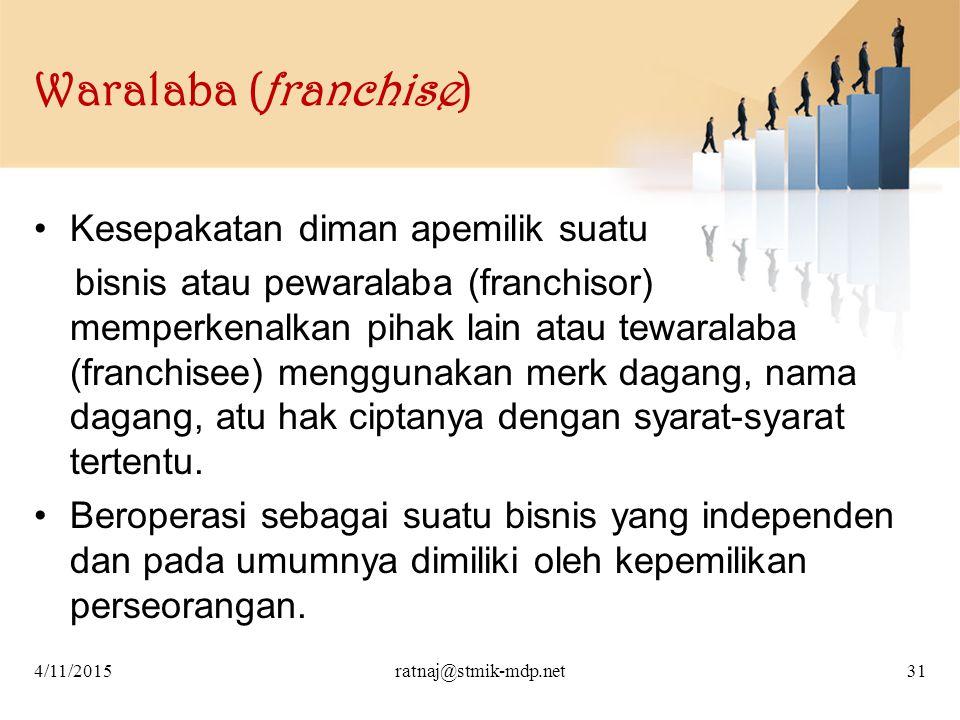 Waralaba (franchise) Kesepakatan diman apemilik suatu bisnis atau pewaralaba (franchisor) memperkenalkan pihak lain atau tewaralaba (franchisee) mengg