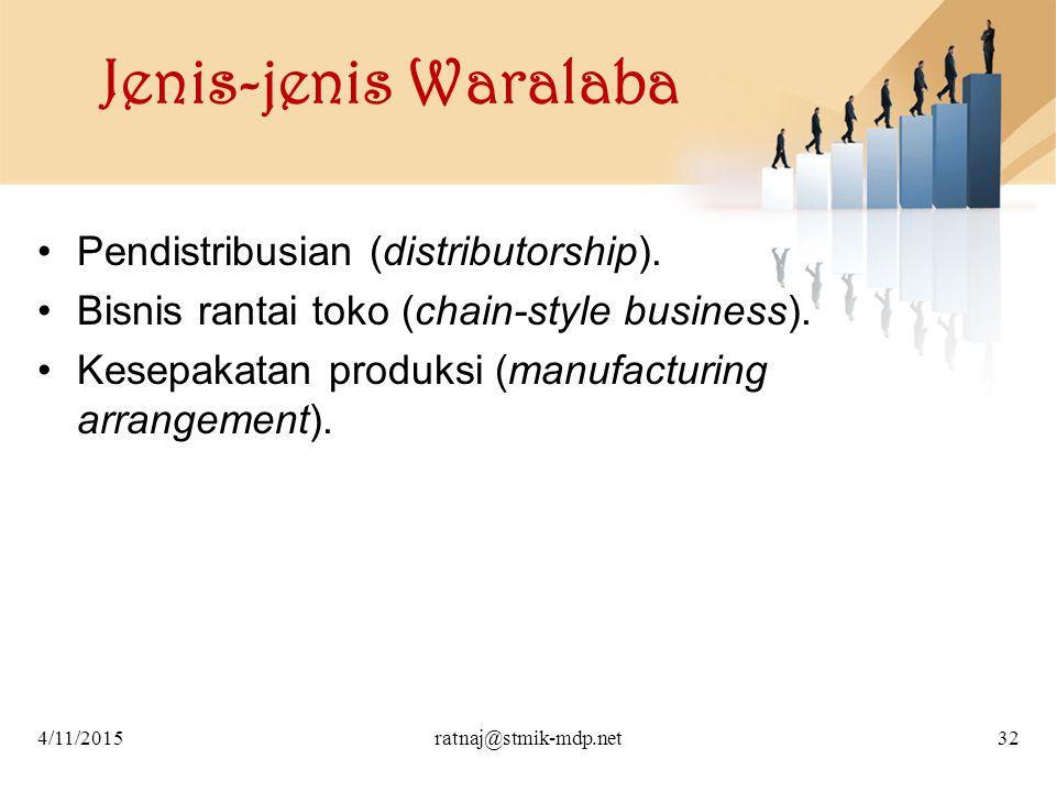 Jenis-jenis Waralaba Pendistribusian (distributorship). Bisnis rantai toko (chain-style business). Kesepakatan produksi (manufacturing arrangement). 4