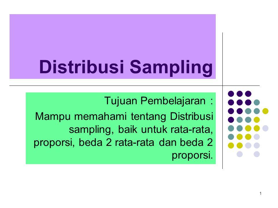 1 Distribusi Sampling Tujuan Pembelajaran : Mampu memahami tentang Distribusi sampling, baik untuk rata-rata, proporsi, beda 2 rata-rata dan beda 2 pr