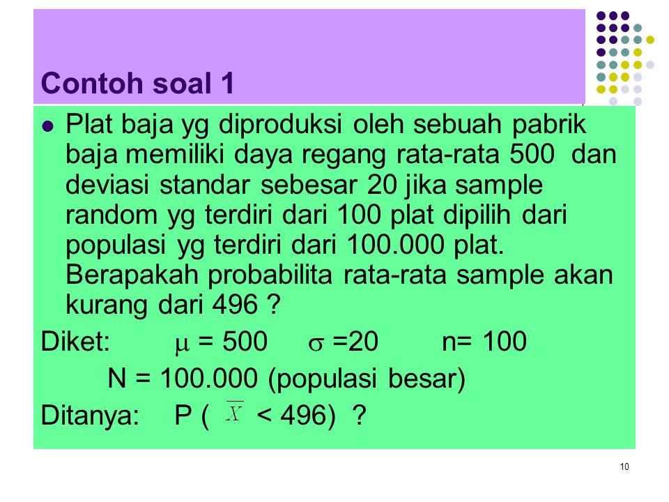 10 Contoh soal 1 Plat baja yg diproduksi oleh sebuah pabrik baja memiliki daya regang rata-rata 500 dan deviasi standar sebesar 20 jika sample random