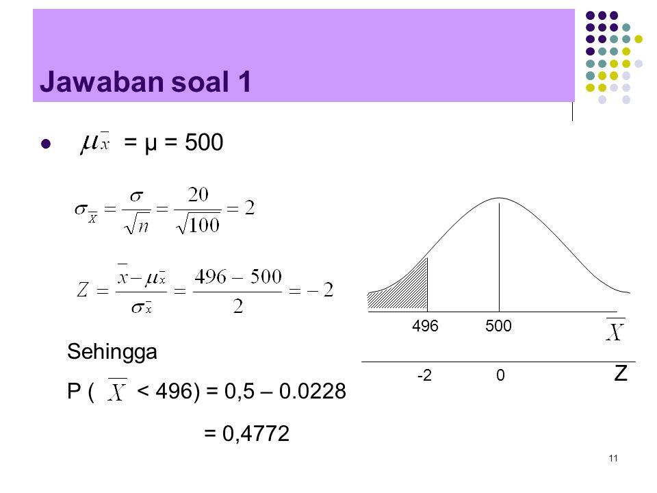 11 Jawaban soal 1 = μ = 500 Sehingga P ( < 496) = 0,5 – 0.0228 496 500 Z -2 0 = 0,4772