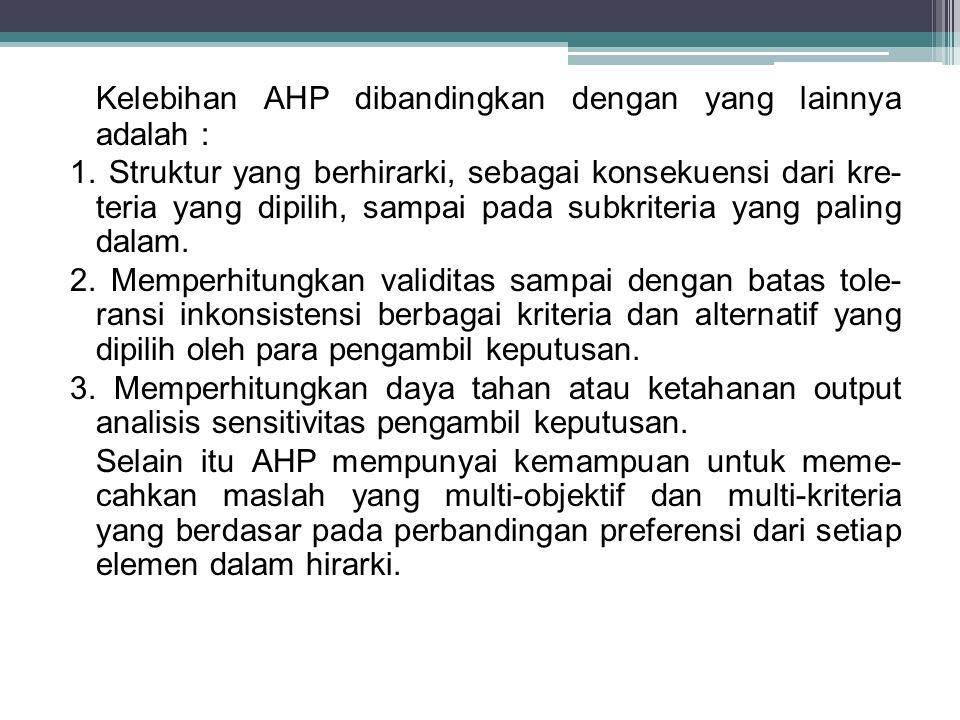 Kelebihan AHP dibandingkan dengan yang lainnya adalah : 1.