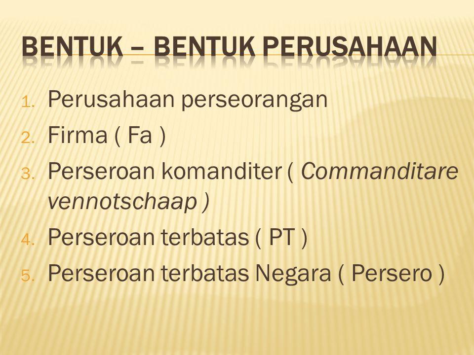 1. Perusahaan perseorangan 2. Firma ( Fa ) 3. Perseroan komanditer ( Commanditare vennotschaap ) 4. Perseroan terbatas ( PT ) 5. Perseroan terbatas Ne