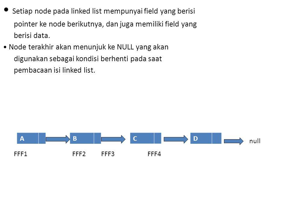 Setiap node pada linked list mempunyai field yang berisi pointer ke node berikutnya, dan juga memiliki field yang berisi data. Node terakhir akan menu