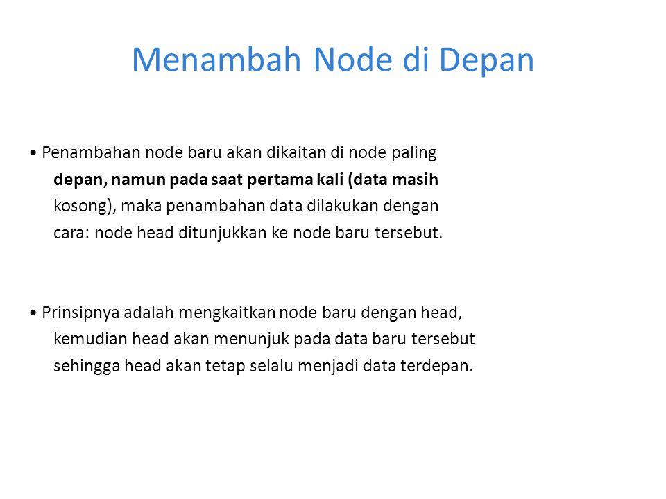 Menambah Node di Depan Penambahan node baru akan dikaitan di node paling depan, namun pada saat pertama kali (data masih kosong), maka penambahan data