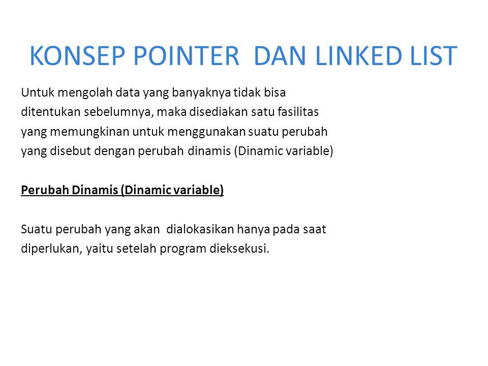 Setiap node pada linked list mempunyai field yang berisi pointer ke node berikutnya, dan juga memiliki field yang berisi data.