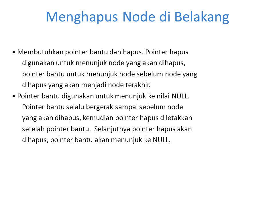 Menghapus Node di Belakang Membutuhkan pointer bantu dan hapus. Pointer hapus digunakan untuk menunjuk node yang akan dihapus, pointer bantu untuk men