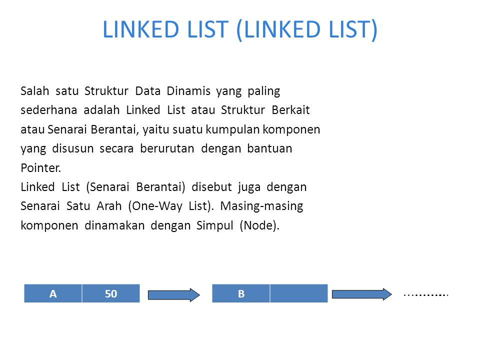 LINKED LIST (LINKED LIST) Salah satu Struktur Data Dinamis yang paling sederhana adalah Linked List atau Struktur Berkait atau Senarai Berantai, yaitu