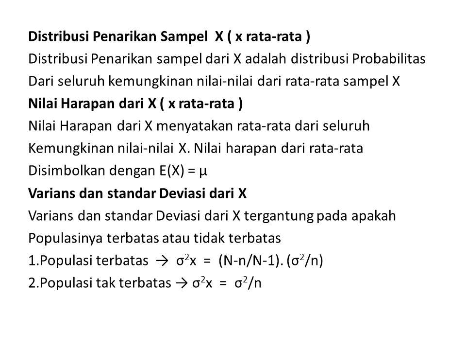Standar Deviasi dari X 1.Populasi terbatas → σx = ( √(N-n/N-1).