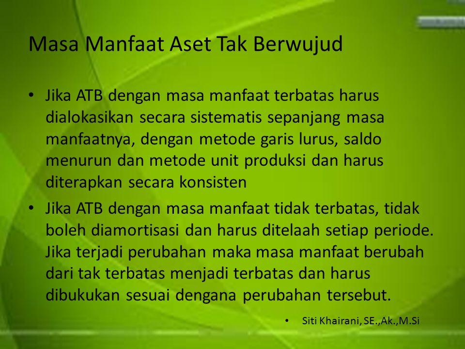 Masa Manfaat Aset Tak Berwujud Jika ATB dengan masa manfaat terbatas harus dialokasikan secara sistematis sepanjang masa manfaatnya, dengan metode gar