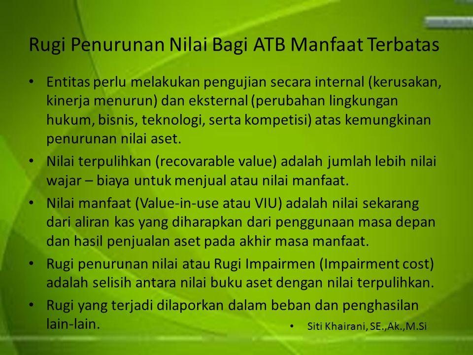Rugi Penurunan Nilai Bagi ATB Manfaat Terbatas Entitas perlu melakukan pengujian secara internal (kerusakan, kinerja menurun) dan eksternal (perubahan