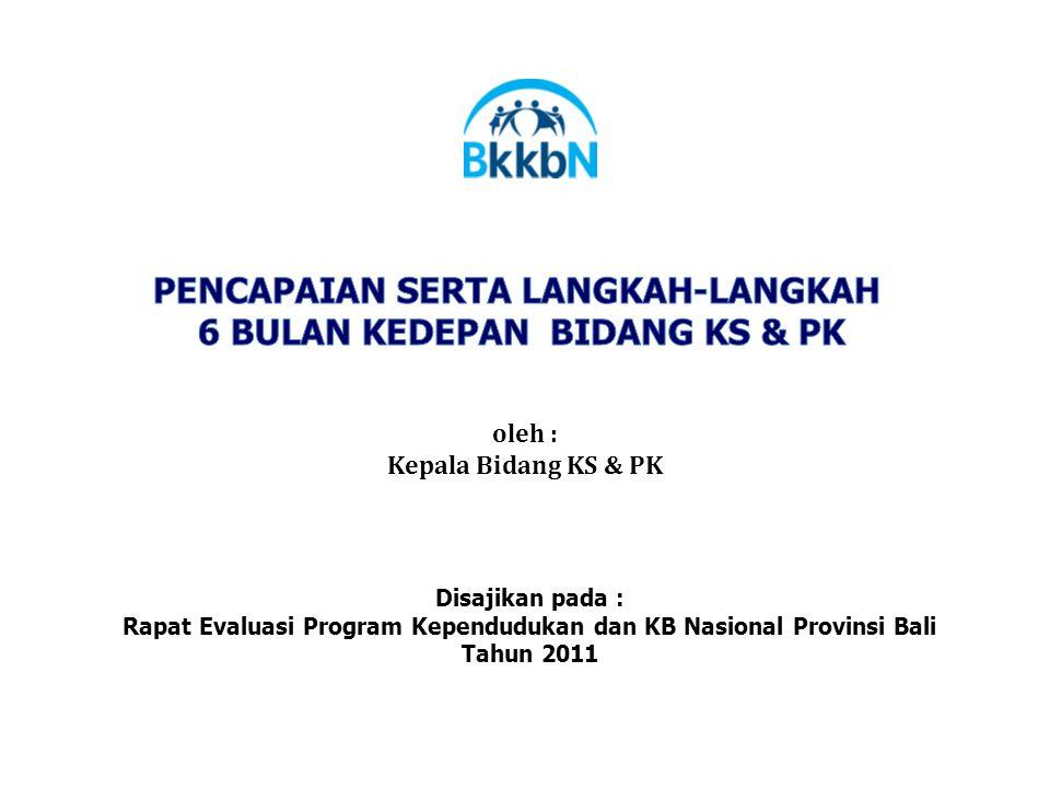 oleh : Kepala Bidang KS & PK Disajikan pada : Rapat Evaluasi Program Kependudukan dan KB Nasional Provinsi Bali Tahun 2011