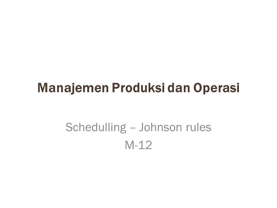 Manajemen Produksi dan Operasi Schedulling – Johnson rules M-12