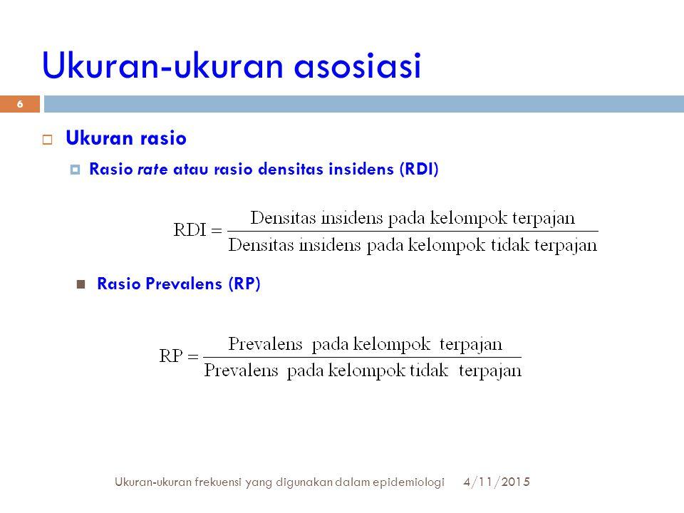 Ukuran-ukuran asosiasi  Ukuran rasio  Rasio rate atau rasio densitas insidens (RDI) 4/11/2015Ukuran-ukuran frekuensi yang digunakan dalam epidemiolo