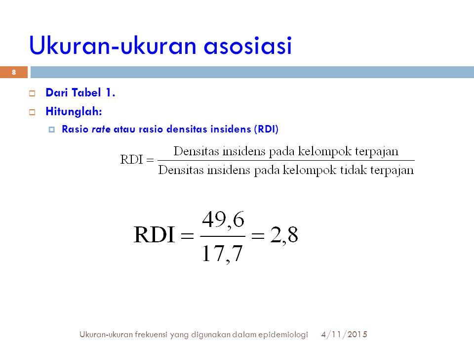 Ukuran-ukuran asosiasi  Dari Tabel 1.  Hitunglah:  Rasio rate atau rasio densitas insidens (RDI) 4/11/2015Ukuran-ukuran frekuensi yang digunakan da